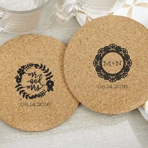 Personalized Romantic Garden Round Cork Coaster Favors (Set image