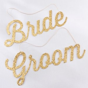 Gold Glitter Bride and Groom Chair Signs image