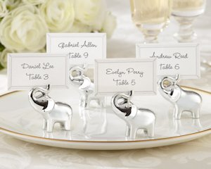 Silver Lucky in Love Elephant Place Card Holders (Set of 4) image