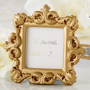 Gold Baroque Square Place Card or Photo Holder image