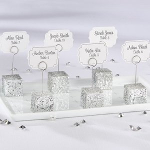 Silver Glitter Place Card Holders (Set of 6) image