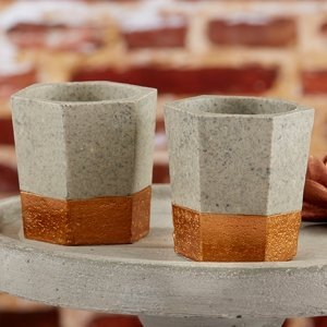 Copper and Concrete Geometric Tealight Holder (Set of 4) image