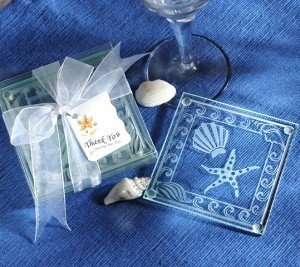 Seashell and Starfish Frosted Glass Coaster Set image