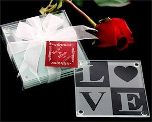 LOVE Glass Coasters with Personalized Tag (Set of 4) image