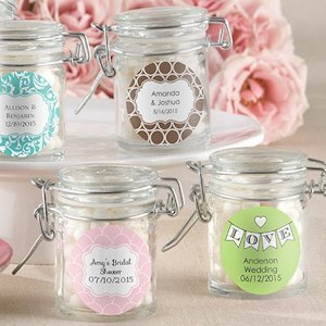 Personalized Glass Wedding Favor Jars (Set of 12) image