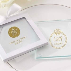 Personalized Beach Tides Glass Coaster Favors (Set of 12) image