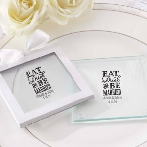 Personalized Eat Drink & Be Married Coasters (Set of 12) image