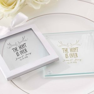 Personalized 'The Hunt is Over' Glass Coaster Favors image