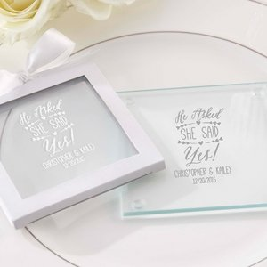 Personalized 'He Asked She Said Yes' Glass Coasters image