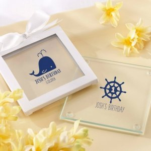 Personalized Nautical Birthday Party Glass Coasters image