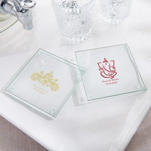 Personalized Indian Jewel Glass Coaster Favors (Set of 12) image