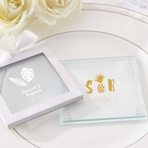 Personalized Pineapples and Palms Glass Coaster (Set of 12) image
