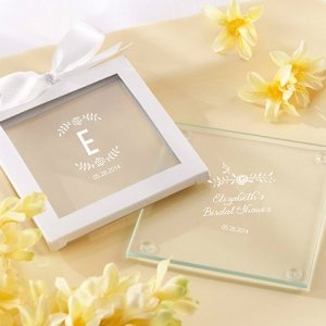 Personalized Rustic Bridal Shower Glass Coasters (Set of 12) image