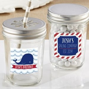 Personalized Nautical Birthday Mason Jar Favors (Set of 12) image