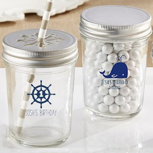 Personalized Nautical Birthday Theme Mason Jars (Set of 12) image