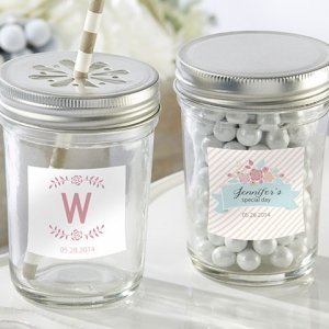 Personalized Rustic Mason Jar Bridal Shower Favors image