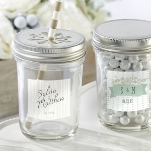 Rustic Theme Personalized Mason Jars with Lids (Set of 12) image
