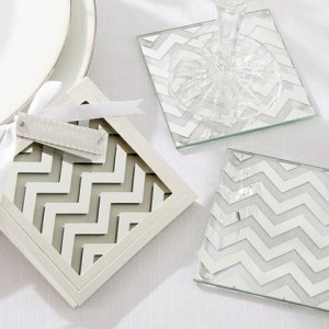 Shimmer and Shine Silver Chevron Coaster Favors image