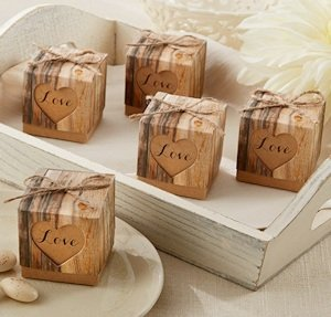 Hearts in Love Rustic Wedding Favor Boxes (Set of 24) image