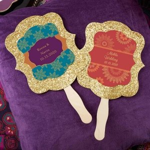 Personalized Indian Jewel Gold Glitter Hand Fans (Set of 12) image