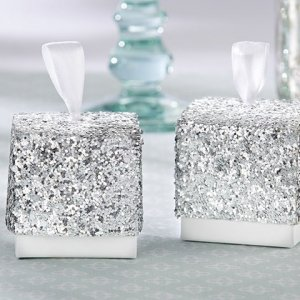 Sparkle and Shine Silver Glitter Favor Boxes (Set of 24) image