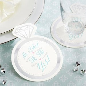 'He Asked She Said Yes' Wedding Paper Coasters (20 Count) image