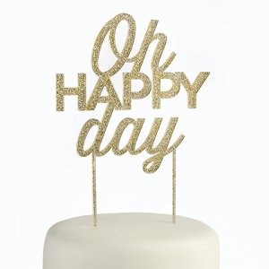 Gold Glitter Oh Happy Day Acrylic Cake Topper image