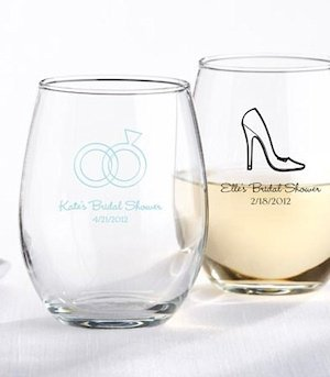 Personalized 9 oz Stemless Bridal Shower Wine Glasses image
