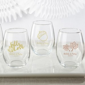 Personalized Fall Design 9 Oz. Stemless Wine Glass image