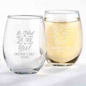 'He Asked She Said Yes' Personalized 9 oz. Stemless Glasses image