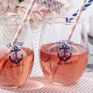 Personalized Nautical Bridal Shower Stemless Wine Glasses image