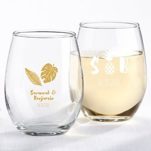 Personalized Pineapples and Palms Stemless Wine Glass image