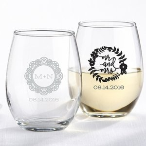 Personalized Romantic Garden 15 oz Stemless Wine Glass image