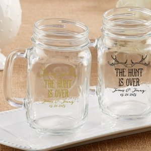 Personalized 'The Hunt is Over' Mason Jar Favors image