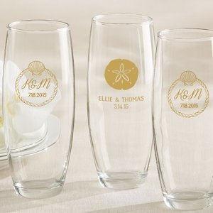 Personalized Beach Tides Stemless Champagne Glass Favor image
