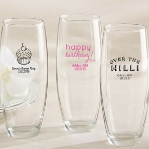 Personalized Stemless Champagne Birthday Glasses image