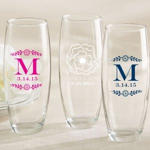 Personalized Botanical Stemless Champagne Glass Favor image