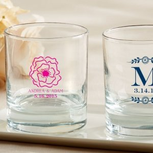 Personalized Botanical Design Rocks Glass Favors image