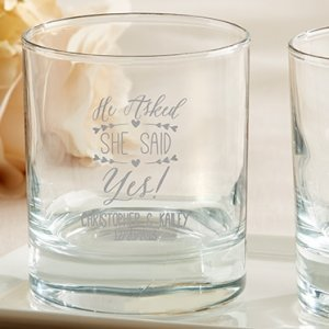 Personalized 'He Asked She Said Yes' Rocks Glasses image