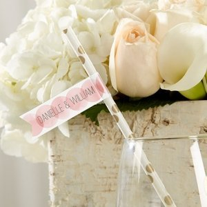 Personalized Wedding Party Straw Flags image