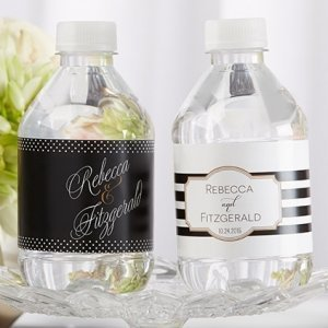 Personalized Classic Wedding Water Bottle Labels image