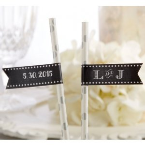 Personalized Chalk Design Party Straw Flags image