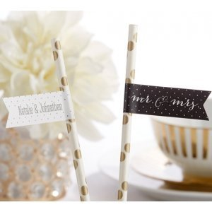 Personalized Mr. & Mrs. Party Straw Flags image