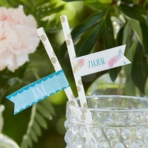 Personalized Boho Party Straw Flags (Set of 25) image