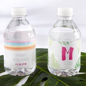 Personalized Pineapples and Palms Water Bottle Labels image