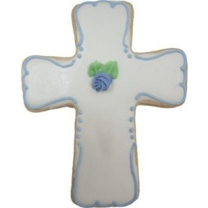 First Communion Iced Sugar Cookie Cross Favors image