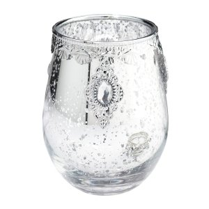 Jeweled Silver Glass Candle Holder image