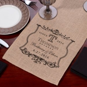 Burlap Wedding Table Runner (5 Personalized Options) image