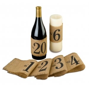 Burlap Table Number Wraps (Numbers 1-20) image