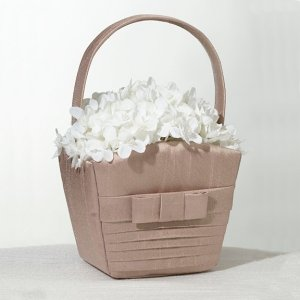 Taupe Bow Pleated Silk Wedding Flower Basket image